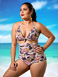 cheap -Women's Plus Size Halter Bikini - Floral, Print High Waist