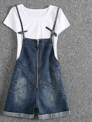 cheap -Women's Casual Slim Overalls Jeans Pants - Solid Colored