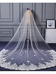 Wedding Veil One-tier Elbow Veils Cathedral Veils Lace Applique Edge Lace Tulle Champagne