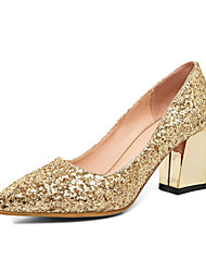 Women's Heels Comfort Novelty Fall Glitter Wedding Dress Party & Evening Chunky Heel Gold Sliver Ruby 2in-2 3/4in