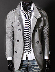 Men's Daily Simple Casual Spring Fall Trench Coat,Solid Stand Long Sleeve Regular Cotton Polyester