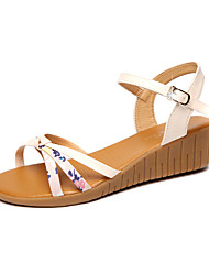 cheap -Women's Shoes PU Spring / Summer Comfort Sandals Wedge Heel Open Toe Buckle for Party & Evening / Dress Yellow / Almond