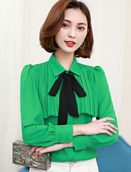 cheap -Women's Daily Casual Blouse,Solid Shirt Collar Long Sleeves Polyester