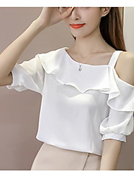 cheap -Women's Blouse - Solid Colored One Shoulder