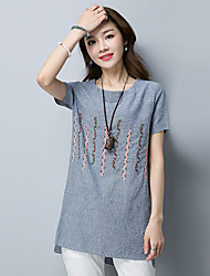 Women's Casual/Daily Chinoiserie T-shirt,Striped Embroidery Round Neck Short Sleeves Cotton Linen
