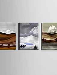 cheap -Mini Size E-HOME Oil painting Modern Clouds In The Valleys Pure Hand Draw Frameless Decorative Painting Set of 3