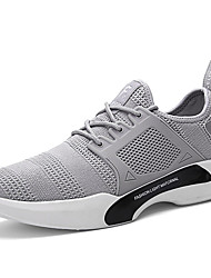 Men's Athletic Shoes Comfort Spring Fall Tulle Walking Shoes Casual Lace-up Flat Heel Black Gray 2in-2 3/4in