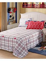 cheap -Comfortable Poly/Cotton Flat Sheet Plain Plaid/Checkered Printed 300 Tc 1pc Flat Sheet 2pcs Pillowcases Printed