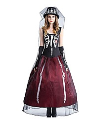 Skeleton / Skull Bride Costume Female Halloween Day of the Dead Festival / Holiday Halloween Costumes Red/black Vintage