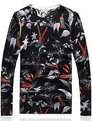 Standard Pullover Da uomo-Casual Serata Taglie forti Vintage Stoffe orientali Con stampe Monocolore Rotonda Manica lunga Lana Cotone