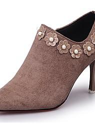 cheap -Women's Boots Light Soles Fall Winter PU Casual Dress Imitation Pearl Zipper Stiletto Heel Almond Ruby Black 2in-2 3/4in