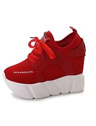 Недорогие -Для женщин Обувь Полиуретан Весна Осень Удобная обувь Кеды Для прогулок Платформа Закрытый мыс Комбинация материалов Назначение