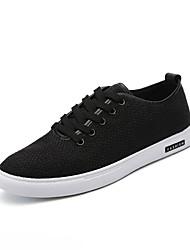 baratos -Homens sapatos Linho Verão Outono Solados com Luzes Conforto Tênis Caminhada para Casual Ao ar livre Branco Preto Bege