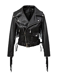 Women's Going out / Casual/Daily Street chic Leather Jackets,Solid Asymmetrical Long Sleeve Fall / Winter Black Spandex Medium