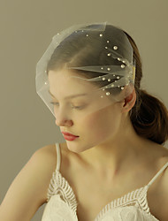 cheap -One-tier Cut Edge Wedding Veil Blusher Veils 53 Pearl Ruffles Tulle