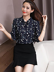 Women's Casual/Daily Simple Blouse,Print Stand Half Sleeves Polyester