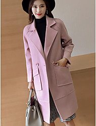 Women's Casual/Daily Simple Winter Coat,Solid Notch Lapel Long Sleeve Long Cotton Oversized
