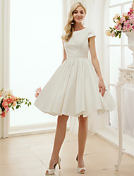 A-Line Princess Jewel Neck Knee Length Satin Wedding Dress with Sash / Ribbon by LAN TING BRIDE®