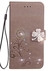 preiswerte -Fall für Samsung Galaxy s4 Mini s3 Mini Fall Kartenhalter Brieftasche Rhinestone mit Standfuß geprägt voller Körper Fall Blume harte PU