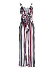 Women's Wild Sexy Deep V Strap Striped Color Block Boho Floral Print High Rise Beach Casual/Daily Club Wide Leg Jumpsuits