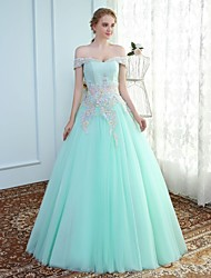 Ball Gown Off-the-shoulder Floor Length Tulle Prom Formal Evening Wedding Party Dress with Beading Lace by SG