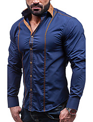 Men's Party Plus Size Vintage Casual Street chic Spring Fall Shirt,Solid Shirt Collar Long Sleeves Cotton Thick