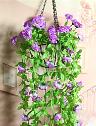 cheap -Simulation Wall Hanging Rattan Green Leaf Carnation Flower Lilacs
