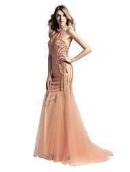 A sirena All'americana Strascico a terra Tulle Cena di famiglia Serata formale Vestito con Perline di Sarahbridal