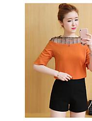 Damen Solide Einfach Lässig/Alltäglich Bluse,Bateau Kurzarm Polyester
