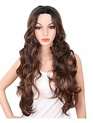 Long Body Wave Brown Red Color Wig For Black Women High Temperature Naturally Synthesis Female Hair With Bangs Heat Resistant Fashion Capless Wig