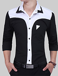 cheap -Men's Vintage Slim Shirt - Color Block Black & White