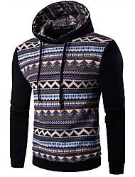 Felpa con cappuccio Da uomo Boho Sport Per uscire Casual Monocolore Righe Media elasticità Poliestere Manica lunga Autunno Inverno