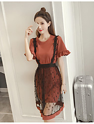 Women's Casual/Daily A Line Lace Dress,Floral Print Round Neck Knee-length Short Sleeve Polyester 100%Cotton Summer Mid Rise Micro-elastic