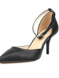 Unisex Sandals Basic Pump Summer PU Casual Office & Career Buckle Stiletto Heel Black 3in-3 3/4in