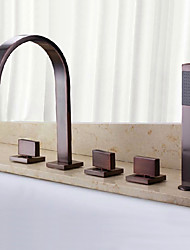 Antique Classic Widespread Waterfall Handshower Included with  Three Handles Five Holes  Oil-rubbed Bronze Finish Bathroom Bathtub Faucet Set