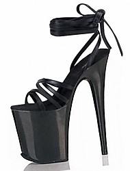 Women's Sandals Formal Shoes Summer PVC Dress Party & Evening Lace-up Stiletto Heel Black Clear 5in & over