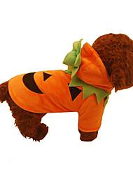Недорогие -Собака Костюмы Одежда для собак Тыква Оранжевый Хлопок Костюм Для домашних животных Хэллоуин