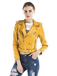 Feminino Jaquetas de Couro Feriado Para Noite Casual Bandagem Vintage Sensual Moda de Rua Sofisticado Outono Inverno,Sólido Curto