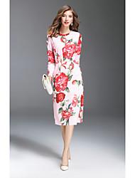 MMLJ   Women's Going out Cute Sheath DressPrint Round Neck Midi Long Sleeves Polyester Fall Mid Rise Micro-elastic Medium
