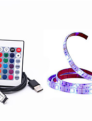 cheap -1M DIY 5050 RGB LED Strip Waterproof DC 5V USB LED Light Strips Flexible Tape 1M add Remote For TV Background