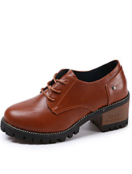 cheap -Women's Shoes PU Winter Fall Comfort Ankle Strap Oxfords Low Heel Closed Toe Lace-up for Outdoor Office & Career Black Beige Brown