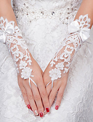 Wrist Length Fingerless Glove Lace Bridal Gloves All Seasons Pearls Bow