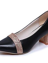 preiswerte -Damen Schuhe PU Herbst Pumps High Heels Blockabsatz Spitze Zehe für Kleid Gold Schwarz Silber