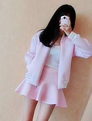Women's Casual/Daily Cute Summer Hoodie Skirt Suits,Solid Stand Long Sleeve