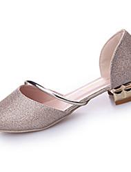cheap -Women's Flats Comfort Summer PU Dress Split Joint Flat Heel Gold Silver Flat