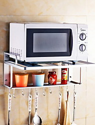 Wall - mounted Space Aluminum Kitchen Racks Microwave Oven Shelves