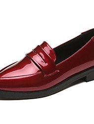 cheap -Women's Shoes Patent Leather Spring Comfort Loafers & Slip-Ons Low Heel Pointed Toe for Dress Black Yellow Red