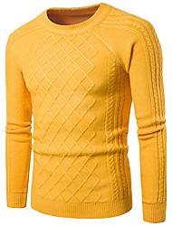 Недорогие -Для мужчин На выход На каждый день Простое Обычный Пуловер Однотонный,Круглый вырез Длинный рукав Хлопок Осень Средняя Слабоэластичная