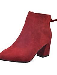 Недорогие -Для женщин Обувь Полиуретан Зима Удобная обувь Ботинки Блочная пятка Заостренный носок Сапоги до середины икры Молнии Назначение