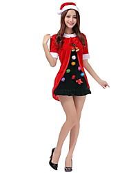 baratos -Ternos de Papai Noel Mrs.Claus Roupa Mulheres Adulto Natal Festival / Celebração Trajes da Noite das Bruxas Vintage